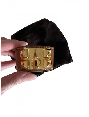 Hermes Collier de chien Brown Leather Bracelets