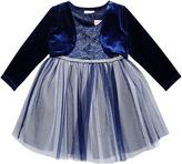 Youngland Blue & Silver Lace-Bodice Dress & Bolero - Infant, Toddler & Girls