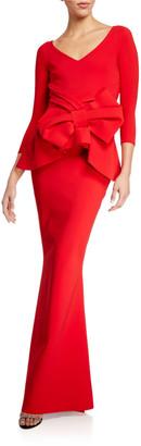 Chiara Boni V-Neck 3/4-Sleeve Bow Peplum Gown