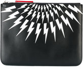 Neil Barrett lightning print pouch - men - Leather - One Size