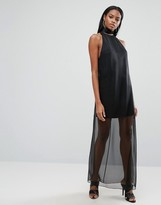 Aq/Aq Aq Aq Sheer Skirt Maxi Dress With High Neck