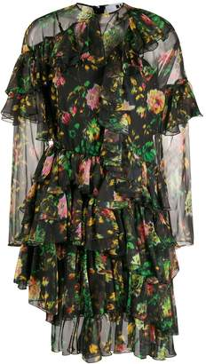MSGM Floral Print Ruffled Dress