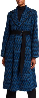 St. John Graphic Felted Herringbone Coat with Contrast Knit Trim Detail & Knit Belt
