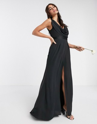 ASOS DESIGN Bridesmaid cowl front maxi dress with button back detail