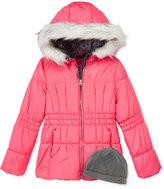 London Fog 2-Pc. Heavyweight Puffer Jacket & Fleece Hat Set, Girls (7-16)