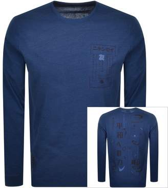Edwin Crew Neck Logo Long Sleeve T Shirt Navy