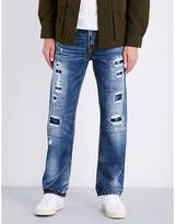 True Religion Ricky Distressed Relaxed-fit Straight-leg Stretch-denim Jeans