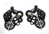 StealStreet Black Satin Clock Gears Wooden Earrings