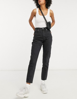 Dr. Denim Nora high rise mom jeans in washed black