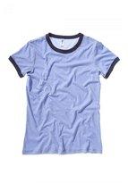 B.ella Bella+Canvas Ladies' Heather Ringer Short-Sleeve Jersey Tee - Heather Blue/ Navy - 2XL