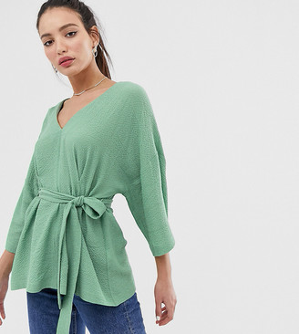 Asos Tall DESIGN Tall textured oversized top with v neck and tie waist-Green