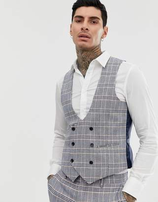 Gianni Feraud skinny fit linen blend check suit vest double breasted scoop-Blue