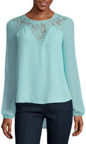 BELLE + SKY Long Sleeve Lace Illusion Top