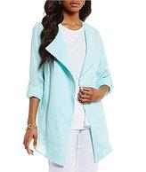 Preston & York Candice Linen Draped Neck Roll-Tab Sleeve Linen Jacket