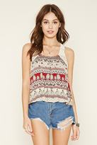 Forever 21 FOREVER 21+ Abstract Crochet-Trim Crop Top
