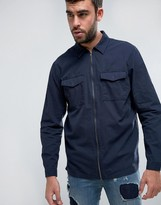 Pull&Bear Regular Fit Shirt With Zip Through Detailing In Navy