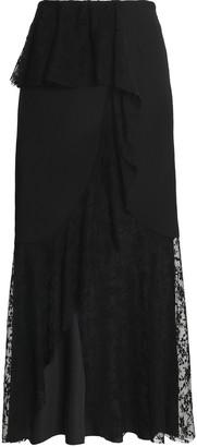 GOEN.J Ruffled Embroidered Tulle-paneled Crepe De Chine Maxi Skirt