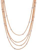 Diamonique Italian Silver 72 Diamond Cut Bead Necklace