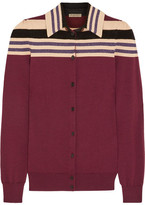 Bottega Veneta Striped Wool-blend Cardigan - Merlot