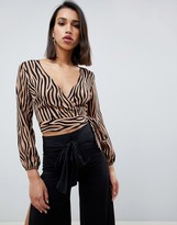 Outrageous Fortune wrap front crop top in tan tiger print