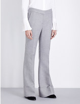 Co Cuffed wide-leg mid-rise wool and silk-blend trousers