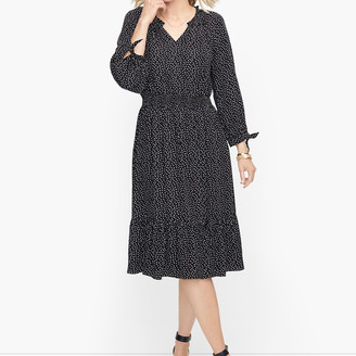 Talbots Split Neck Soft Dress - Confetti Squares