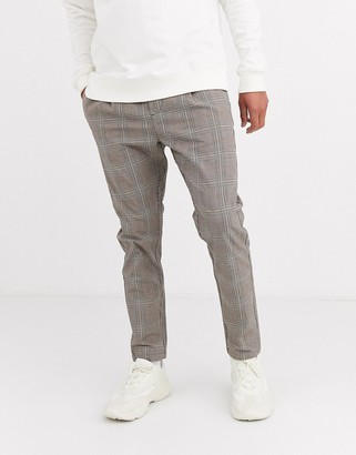 Jack and Jones Intelligence drawstring waist check trousers in brown