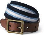 Lands' End Men's Club Stripe Elastic Surcingle Belt-Rich Pine Plaid