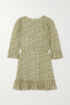 Reformation + Net Sustain Doutzen Ruffled Floral-print Georgette Mini Dress - Green