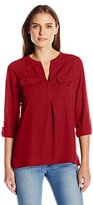 Notations Women's Petite Long Sleeve Madarin Collar Lurex Blouse