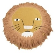 Bloomingville Lion's Face Cotton with Embroidered Face and Long Fringe Corduroy Pouf