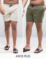 Asos PLUS Swim Shorts 2 Pack In Khaki & Stone Mid Length SAVE