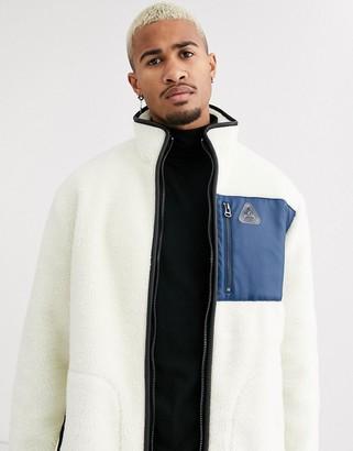 Topman borg jacket in off white