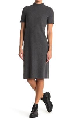 For The Republic Mock Neck Short Sleeve Midi Dress