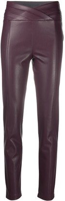 Patrizia Pepe Leather-Effect High-Waist Trousers