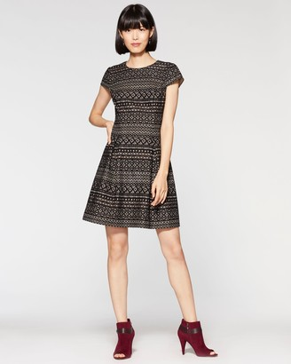Vince Camuto Geo-lace Fit & Flare Dress