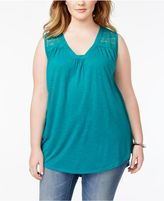 Almost Famous Plus Size Lace-Yoke Top