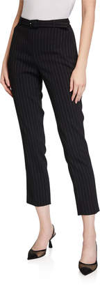 Karl Lagerfeld Paris Pinstriped Belted Cropped Pants