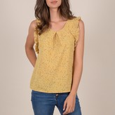 Molly Bracken Printed Crew Neck Blouse with Ruffled Shoulders