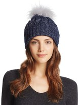 Aqua Metallic Cable Knit Beanie with Asiatic Raccoon Fur Pom-Pom