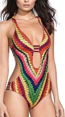 Ways One Piece Women Sling National Wind Beach High Waiste Swimwear for Women Tummy Control Cover Ups for Women Plus Size Swimsuits for Women Sexy Bikini Bandage Strappy Bathing Suits(M