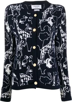Thom Browne Animal Intarsia Cashmere Cardigan