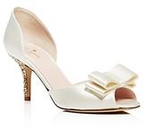Kate Spade Sela Satin and Glitter Mid Heel Pumps