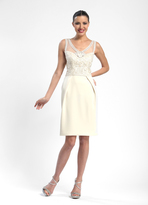 Sue Wong Sleeveless V-neck Beaded Cocktail Dress in Ivory N5200
