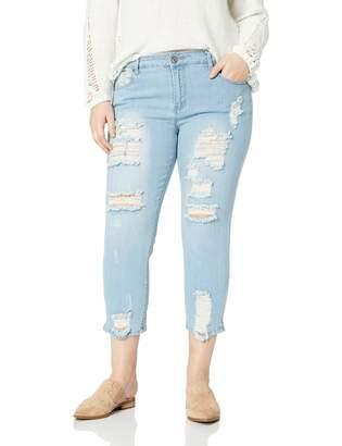Cover Girl Women's Skinny Jeans Distressed Fray Hem Cropped Light Inseam 13 Junior