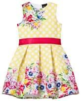 Yellow Polka Dot Floral Dress