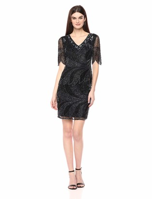 Pisarro Nights Women's Fully Beaded Mock Two-Piece Dress with Fan Motif