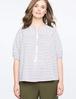 ELOQUII Striped Puff Sleeve Top with Tassels