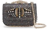 Christian Louboutin Sweet Charity Mini Studded Glittered Leather Shoulder Bag - Black