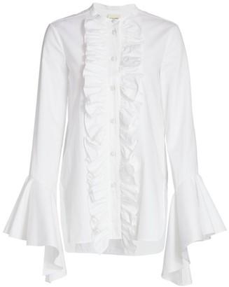 KHAITE Keith Ruffle Bell-Sleeve Shirt